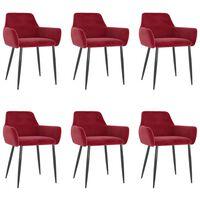 vidaXL Трапезни столове, 6 бр, виненочервени, кадифе
