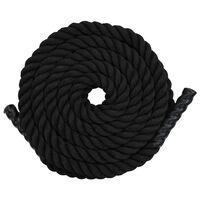 vidaXL Бойно въже, 12 м, полиестер, черно