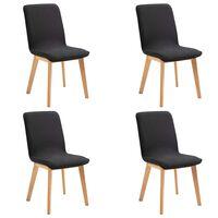 vidaXL Трапезни столове, 4 бр, черен плат и дъбова дървесина масив