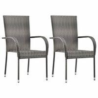vidaXL Стифиращи външни столове, 2 бр, сиви, полиратан