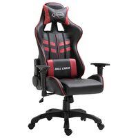 vidaXL Геймърски стол, виненочервено, изкуствена кожа
