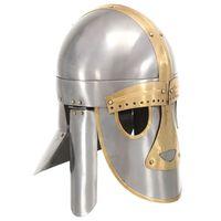 vidaXL Средновековен шлем, антична реплика, ЛАРП, сребрист, стомана