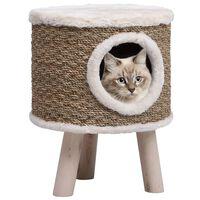 vidaXL Къща за котки с дървени крака, 41 см, морска трева