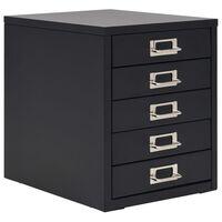 vidaXL Шкаф картотека с 5 чекмеджета, метален, 28x35x35 см, черен