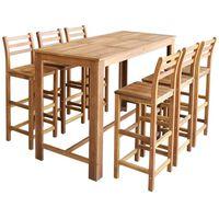 vidaXL Комплект бар маса и столове, 7 части, акациево дърво масив