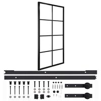 vidaXL Плъзгаща врата, алуминий и ESG стъкло с хардуер, 102,5x205 см
