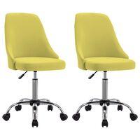 vidaXL Офис столове на колелца, 2 бр, жълти, текстил
