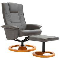 vidaXL Въртящ ТВ фотьойл с табуретка за крака, сив, изкуствена кожа