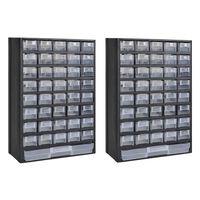 vidaXL Шкаф за инструменти с 41 чекмеджета, 2 бр, пластмаса