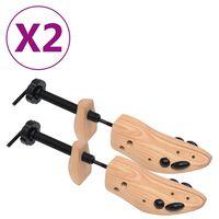 vidaXL Калъпи за обувки, 2 чифта, размер 41-46, борово дърво масив