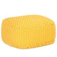 vidaXL Ръчно плетен пуф, горчица, 50x50x30 см, памук