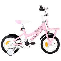 vidaXL Детски велосипед с преден багажник, 12 цола, бяло и розово