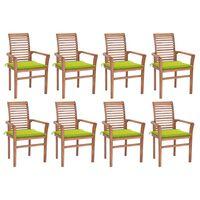 vidaXL Трапезни столове, 8 бр, със светлозелени възглавници, тик масив