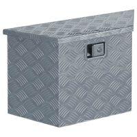 vidaXL Алуминиева кутия, 70x24x42 см, трапецовидна, сребриста
