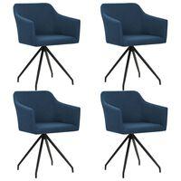vidaXL Въртящи се трапезни столове, 4 бр, сини, текстил