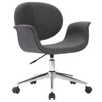 vidaXL Въртящ се офис стол, сив, текстил