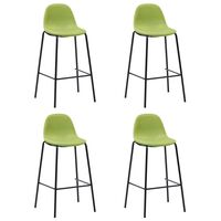 vidaXL Бар столове, 4 бр, зелени, текстил