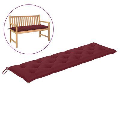 vidaXL Възглавница за градинска пейка виненочервена 180x50x7 см плат