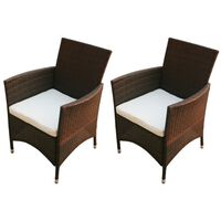 vidaXL Градински столове, 2 бр, полиратан, кафяви