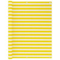 vidaXL Балконски параван, жълто и бяло, 120x600 см, HDPE