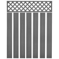 vidaXL Резервни дъски за ограда, WPC, 7 бр, 170 см, сиви