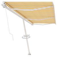 vidaXL Свободностоящ ръчно прибиращ се сенник, 600x350 см, жълто/бяло