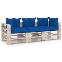 vidaXL Градински 3-местен палетен диван с възглавници, борово дърво