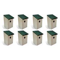vidaXL Къщи за птици, 8 бр, дърво, 12x12x22 см