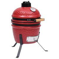 vidaXL 2-в-1 Камадо барбекю грил опушвач, керамично, 56 см, червено