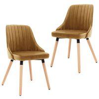 vidaXL Трапезни столове, 2 бр, кафяви, кадифе