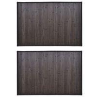 vidaXL Бамбукови постелки за баня, 2 бр, 60x90 см, тъмнокафяви
