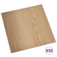 vidaXL Самозалепващи подови дъски, 55 бр, PVC, 5,11 м², кафяви
