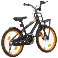 vidaXL Детски велосипед с преден багажник, 18 цола, черно и оранжево