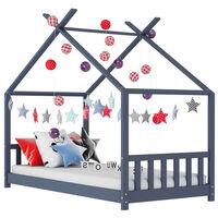 vidaXL Рамка за детско легло, сива, бор масив, 80x160 см