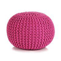 vidaXL Ръчно плетен пуф, памук, 50x35 см, розов