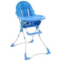 vidaXL Високо бебешко столче за хранене, синьо и бяло