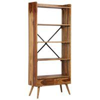 vidaXL Етажерка за книги, шишамово дърво масив, 75x30x170 см