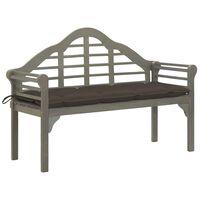 vidaXL Градинска кралска пейка с възглавница 135 см акация масив сива