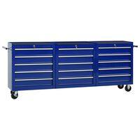 vidaXL Количка за инструменти с 15 чекмеджета, стомана, синя