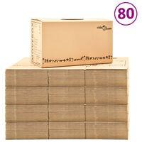 vidaXL Картонени кутии за преместване, XXL, 80 бр, 60x33x34 см