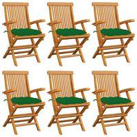 vidaXL Градински столове със зелени възглавници 6 бр тик масив