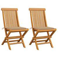vidaXL Градински столове с бежови възглавници 2 бр тиково дърво масив