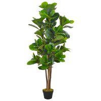 vidaXL Изкуствено растение фикус лирата със саксия, зелено, 152 см