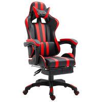 vidaXL Геймърски стол с подложка за крака, червено, изкуствена кожа