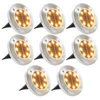 vidaXL Соларни градински лампи, 8 бр, LED топла бяла светлина