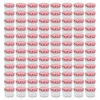 vidaXL Стъклени буркани за сладко с бяло-червени капачки 96 бр 110 мл