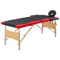 vidaXL Сгъваема масажна кушетка, 2 зони, дърво, черно и червено