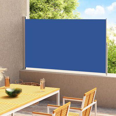 vidaXL Прибираща се дворна странична тента, 220x300 см, синя