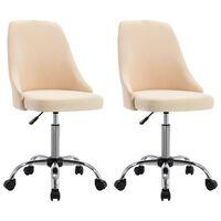 vidaXL Офис столове на колелца, 2 бр, кремави, текстил