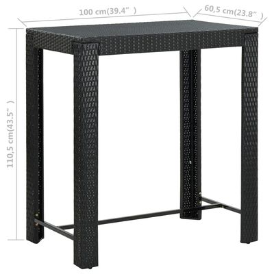 vidaXL Градинска бар маса, черна, 100x60,5x110,5 см, полиратан